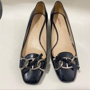 Prada block heel pump shoes black leather size 7.5